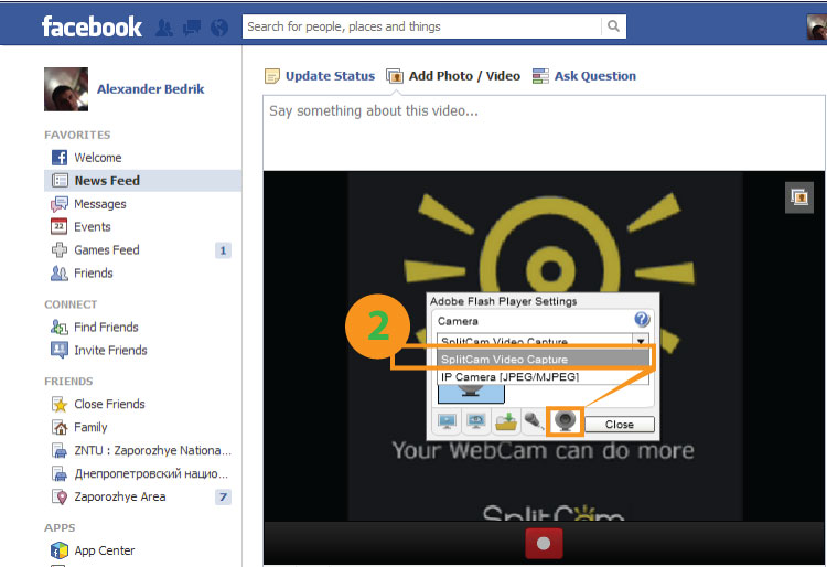 Facebook - SplitCam Instruction. How to connect Facebook to SplitCam