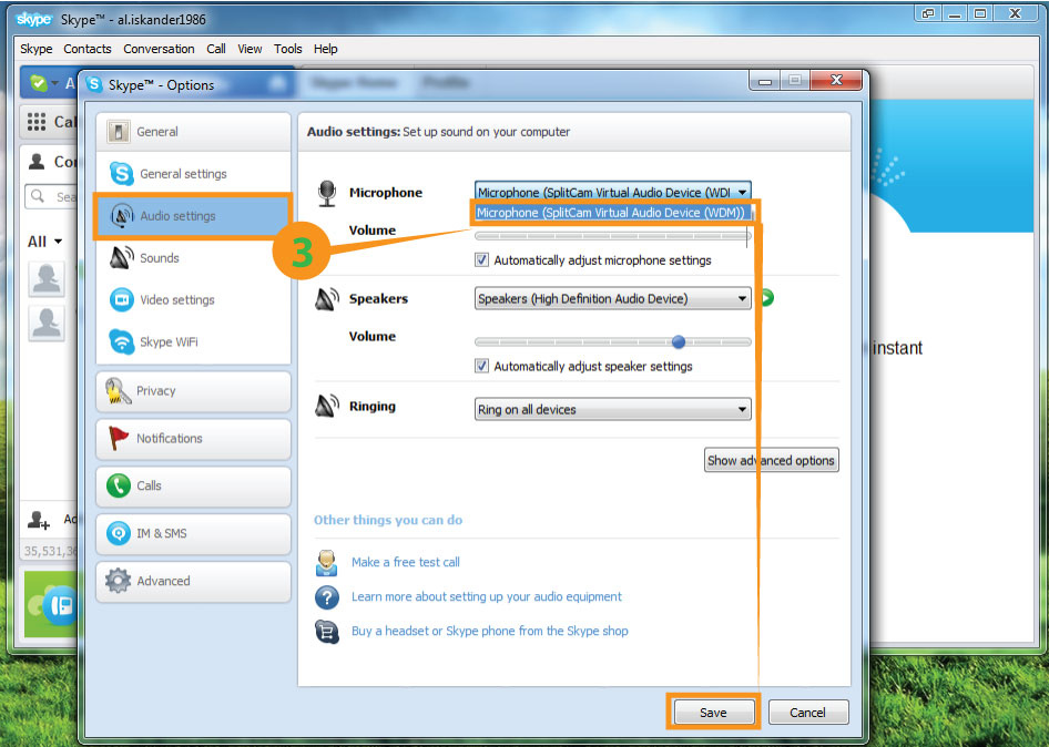 Skype Audio Settings - SplitCam Instruction. How to connect Skype to SplitCam
