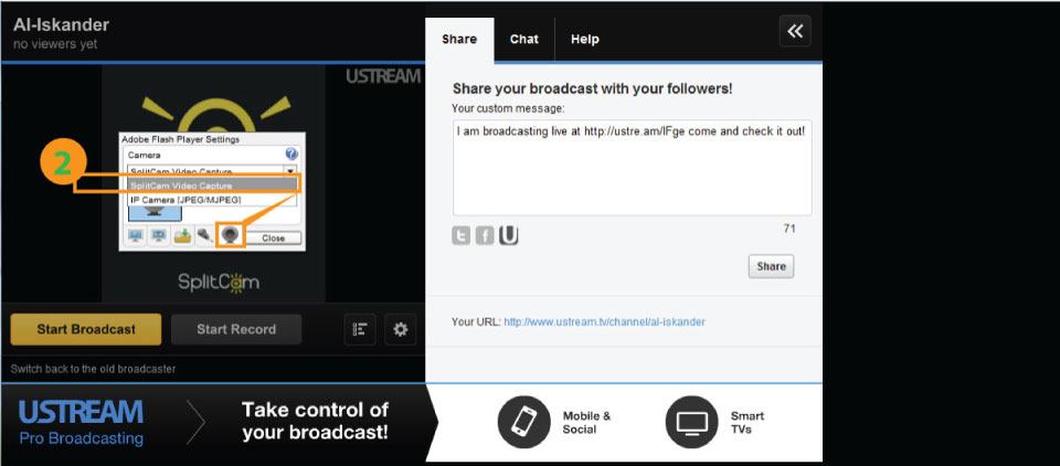 Ustream - SplitCam Instruction. How to connect Ustream to SplitCam