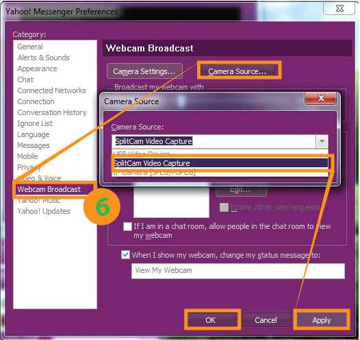 Yahoo Messenger - SplitCam Instruction. How to connect Yahoo Messenger to SplitCam